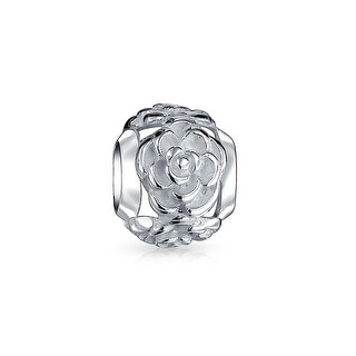 Bling Jewelry 3D Rose Flower Bead Charm .925 Sterling Silver
