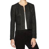 Nine West Black Sequin Tweed Women's Size 8 Open-Front Jacket