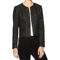 Nine West Deep Black Womens Size 16 Sequined Open Front Jacket