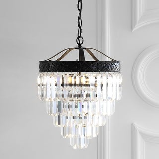 """Link to Wyatt 12"""" 2-Light Crystal LED Chandelier, Bronze/ Clear by JONATHAN  Y - Bronze Similar Items in Pendant Lights"""