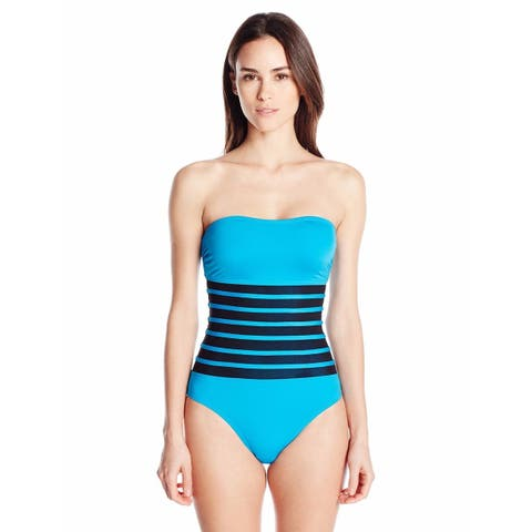 Calvin Klein Womens Binding Overlay One Piece Swimsuit Removable Cup 14