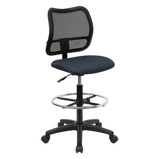 Offex Mid-Back Mesh Drafting Stool with Navy Blue Fabric Seat [OF-WL-A277-NVY-D-GG]