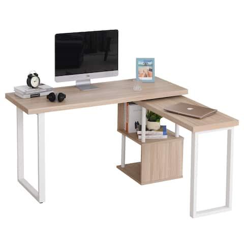 HOMCOM L-shaped Computer Desk with 360-degree Rotation, Storage Shelf, Oak