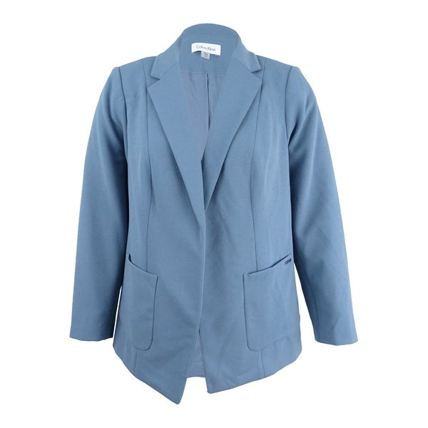 cd3eebb1ad31c Shop Calvin Klein Women s Plus Size Open-Front Blazer - Dusty Shale - Free  Shipping Today - Overstock - 21547990