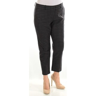 THEORY $285 Womens New 1293 Black Gray Check Cropped Wear To Work Pants 12 B+B