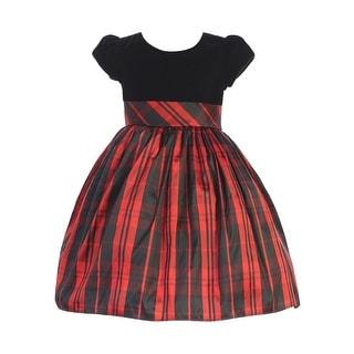 Link to Lito Little Girls Black Velvet Red Plaid Short Sleeve Christmas Dress Similar Items in Girls' Clothing