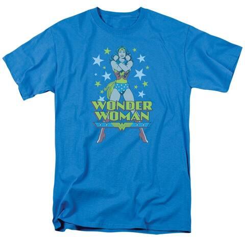Women's Retro Wonder Woman T-Shirt - Short Sleeve - Blue