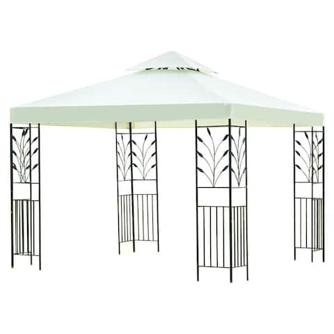 Gymax 10'x10' 2-Tier Gazebo Canopy Shelter Wedding Party Tent - beige