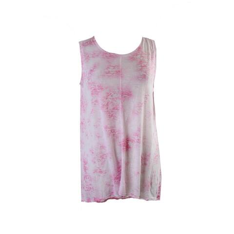 Two By Vince Camuto Pink Sleeveless Burnout Hi-Lo Tunic L