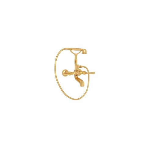 Rohl A1901LM Palladian Exposed Wall Mounted Tub and Shower Mixer with Single Function Hand Shower and Palladian Metal Lever