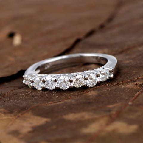 Moissanite Sterling Silver Round Half Eternity Ring by Orchid Jewelry
