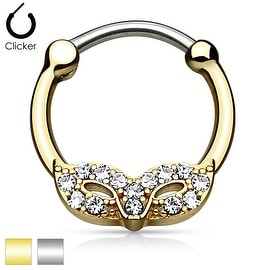 Masquerade Mask with Gem Gold IP 316L Surgical Steel Round Septum Clicker (Sold Ind.)