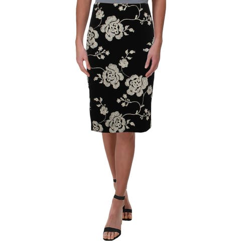 ECI Womens Pencil Skirt Embroidered Floral Print