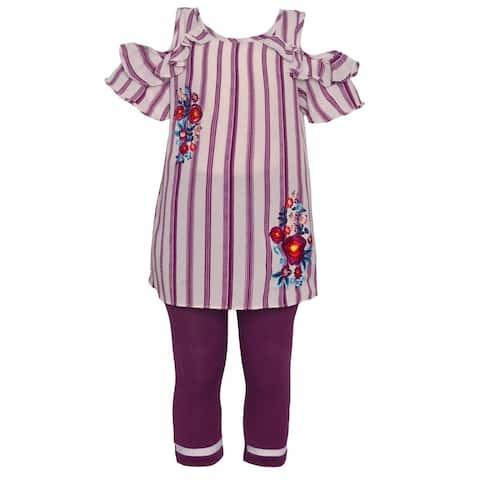 Little Girls Purple Stripe Floral Print Cold Shoulder 2 Pc Legging Set