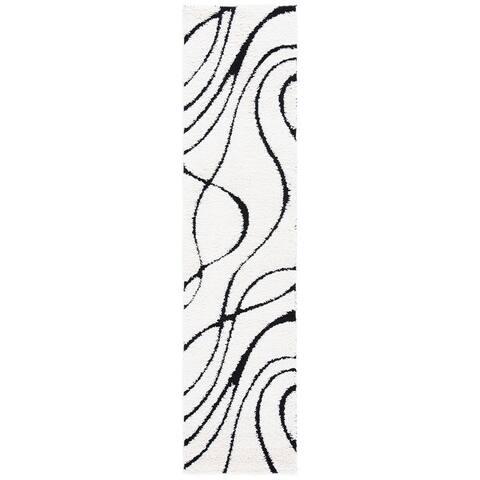 SAFAVIEH Florida Shag Sigtraud Abstract Waves 1.2-inch Thick Rug