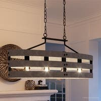 """Luxury Modern Farmhouse Chandelier, 17""""H x 38.5""""W, with Rustic Style, Charcoal  Finish by Urban Ambiance"""