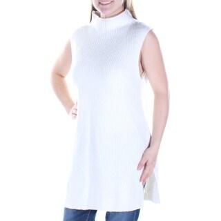 Womens Ivory Sleeveless Turtle Neck Casual Sweater Size M