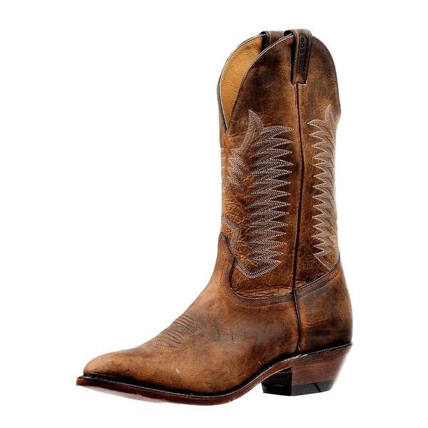 Boulet Western Boots Mens Medium Cowboy Toe Leather Bison Vintage