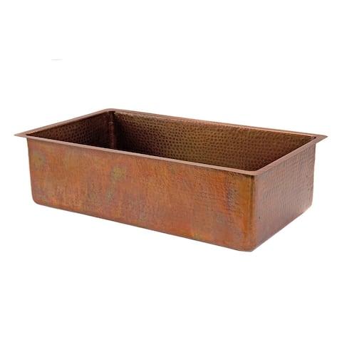 Premier Copper Products KSB33199 33-inch Hammered Antique Copper Single Basin Kitchen Sink