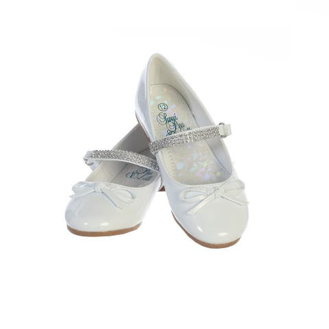 Girls White Patent Rhinestone Strap Summer Dress Shoes