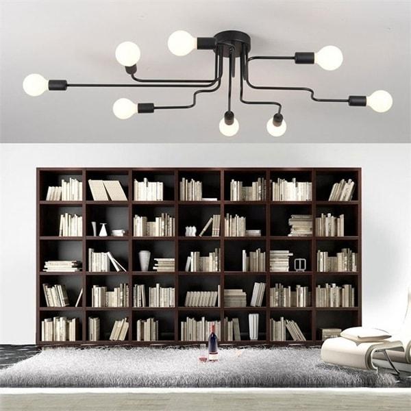 Retro Home Decor Pendant Lights E27 Iron Ceiling Lamp Bulb for Home Lighting Fixtures 8 Bulbs Black. Opens flyout.