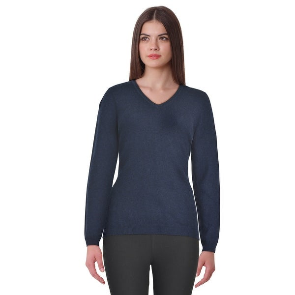Charter Club Cashmere Slim Fit V-Neck Long Sleeve Sweater Top