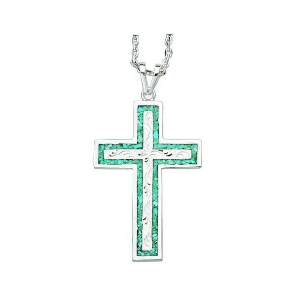 "Bar V Ranch Western Women Necklace Cross 1 3/4"" Silver 316-296"
