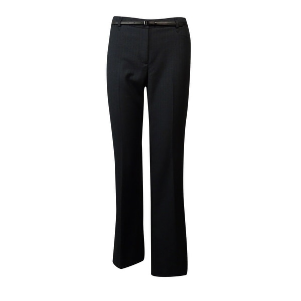 bd52fe8944a3 Shop Calvin Klein Women s Belted Pinstripe Dress Pants - Charcoal White -  Free Shipping On Orders Over  45 - Overstock - 15019023