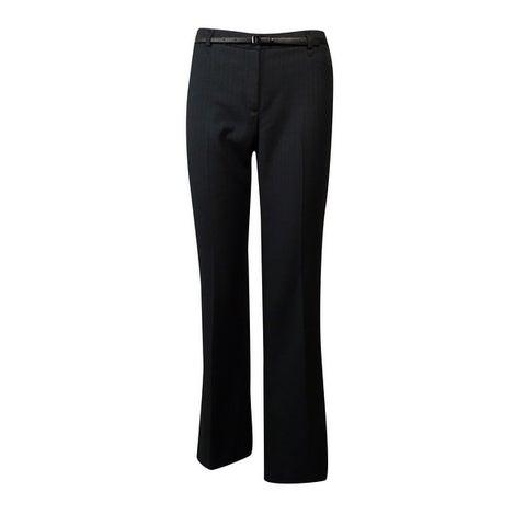 Calvin Klein Women's Belted Pinstripe Dress Pants - Charcoal/White