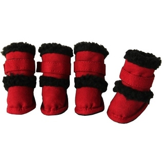 Shearling Duggz Pet Shoes, Red & Black, Medium