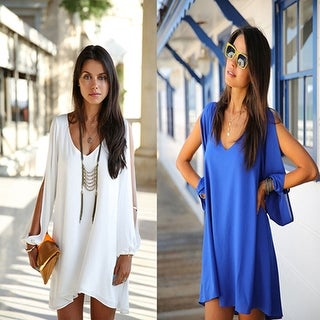 Women's Sexy V-neck Split Long Sleeve Chiffon Loose Irregular Hem Mini Dress