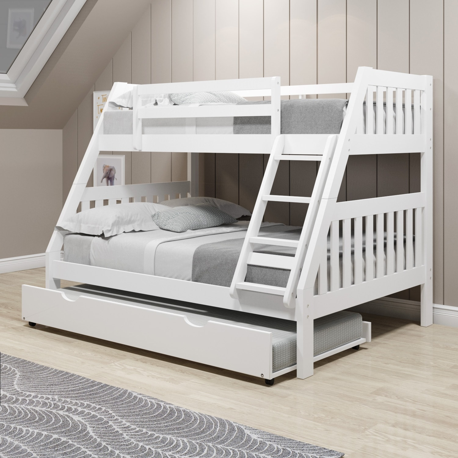 Twin Over Full White Pine Wood Mission Bunk Bed Overstock 31226782