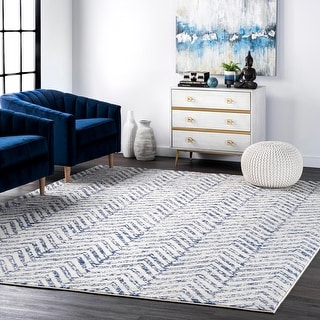 Link to nuLOOM Geometric Blue Contemporary Vintage Ombre Aztec Nina Trellis Print Area Rug Similar Items in As Is