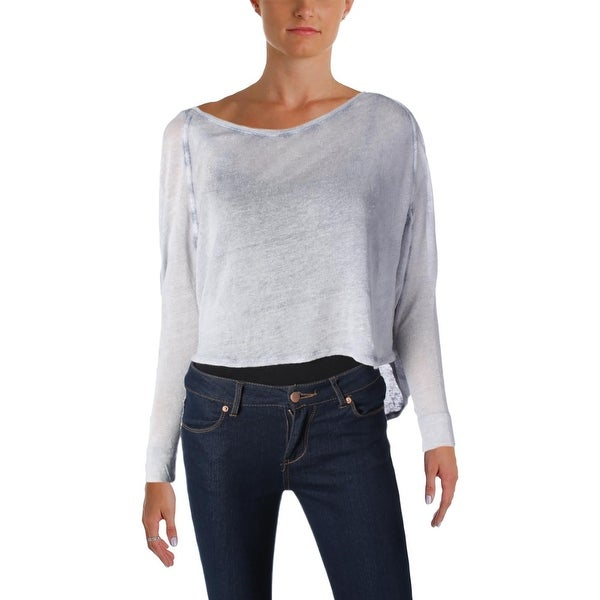 Free People Womens Crop Top Knit Faded