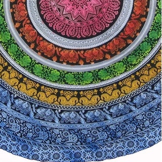 """Handmade 100% Cotton Elephant Mandala Floral 81"""" Round Tablecloth Blue Green Yellow Red"""