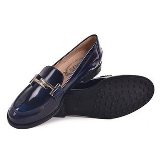Tod's Navy Brushed Leather Double T Slip On Loafers