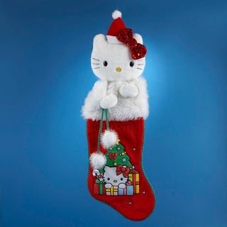 """21"""" Hello Kitty Red Plush Santa Hat Faux Fur Trimmed Christmas Stocking"""