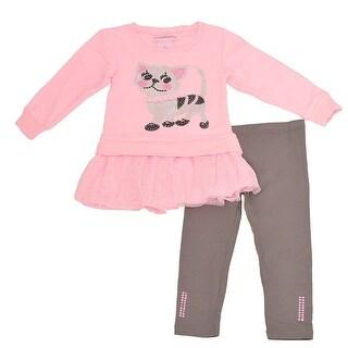 Flapdoodles Little Girls Pink Sequin Cat Applique 2 Pc Pant Outfit
