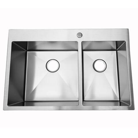 "33"" 16 Gauge Undermount 60/40 Double Bowl Stainless Steel Kitchen Sink"