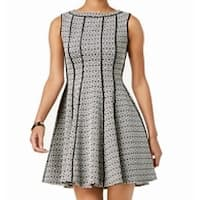 Taylor Black White Womens Size 8 Jacquard Fit & Flare A-Line Dress