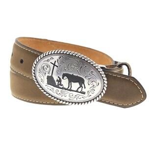 Nocona Mens Leather Buckle Cowboy Belt