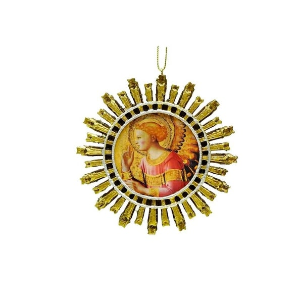 """4"""" Religious Angel Starburst Christmas Ornament - GOLD"""