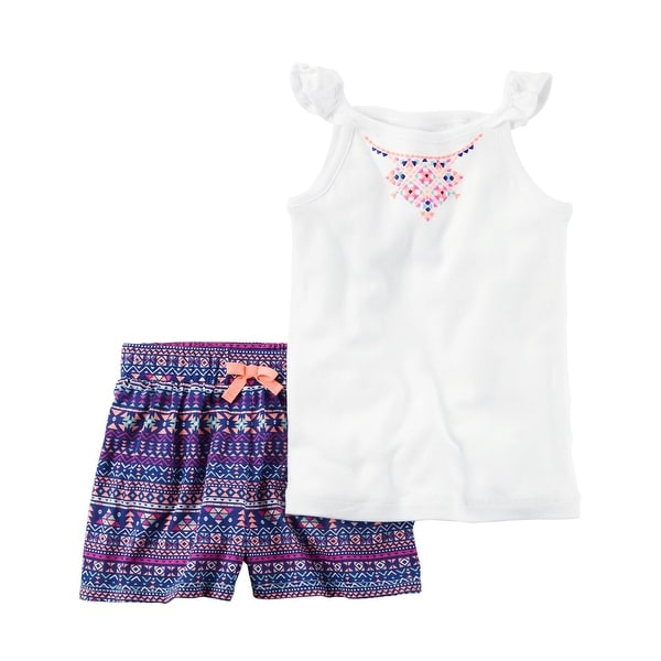 20e09e4838a25 Shop Carter's Baby Girls' 2-Piece Flutter-Sleeve Tank & Floral Short Set, 3  Months - 3 Months - Free Shipping On Orders Over $45 - Overstock - 18302935