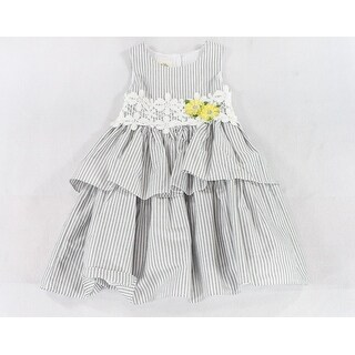 Laura Ashley NEW Gray Girls 4 Stripe Floral-Accent Ruffle Crochet Dress