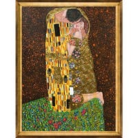 The Kiss Full View, Metallic Embellished Framed Hand Painted Oil on Canvas