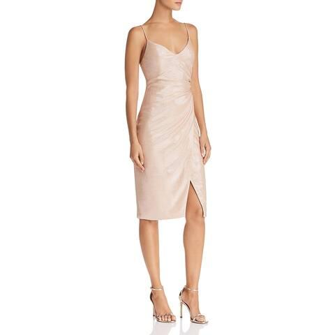 Black Halo Womens Bowery Sheath Dress Lurex Knee-Length - Apricot