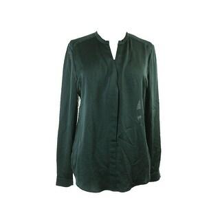 Anne Klein Dark Green Lace Back Placket-Front Blouse 10