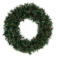 "30"" Pre-lit Midnight Green Pine Christmas Tinsel Wreath - Red Dura Lights"