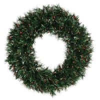 "36"" Pre-lit Midnight Green Pine Christmas Tinsel Wreath - Red Dura Lights"