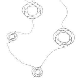 Interlocking Circle Station Necklace in Sterling Silver - White